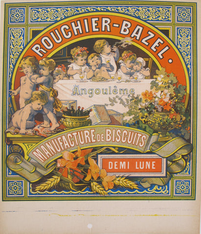 1850s Antique French Biscuit Label, Rouchier Bazel, Demi-Lune