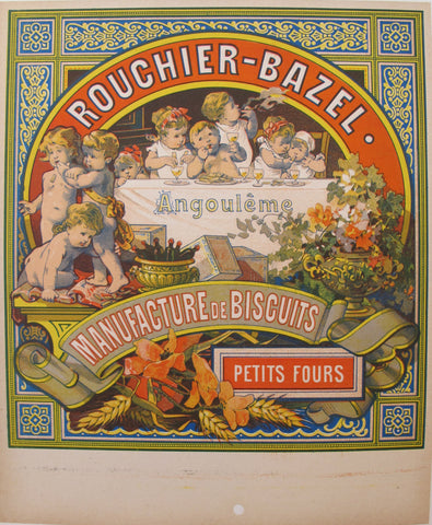 1850s Antique French Biscuit Label, Rouchier Bazel, Petit Fours