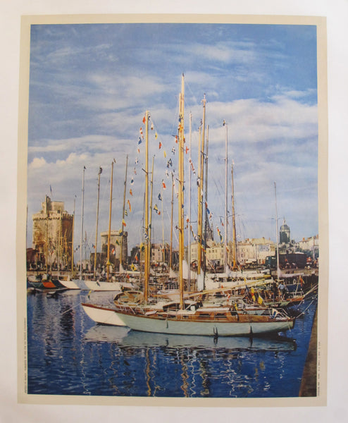 1955 Vintage Original La Rochelle travel poster - Sailboats