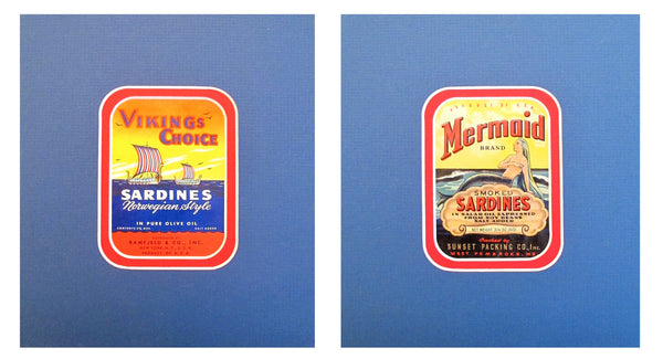"1930-1940s Original Vintage American Sardine Labels - ""Viking & Mermaid"" (Set of 2)"