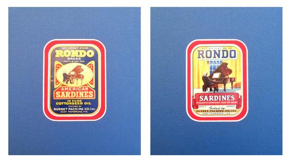 "1930-1940s Original Vintage American Sardine Labels - ""Pianos"" Rondo (Set of 2)"