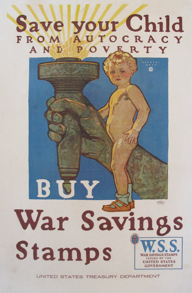 1918 Original American WWI Propaganda Poster, Save Your Child (small)