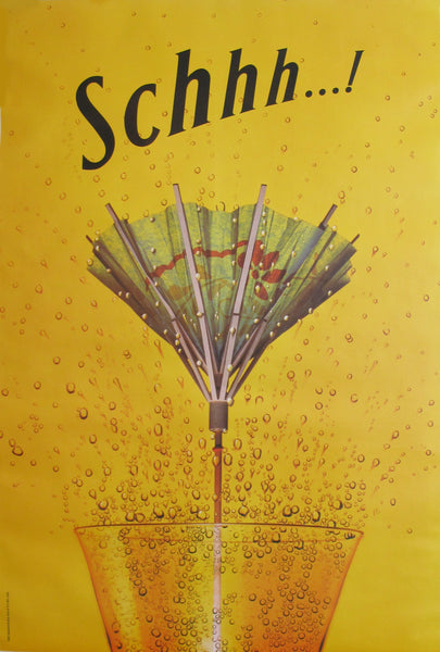 1995 Original Schweppes Advertising Poster, Schhh...! Umbrella