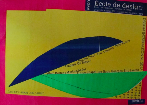 2013 Original Ecole de Design - Design International Poster (Blue, Green, Yellow) - Alfred Halasa