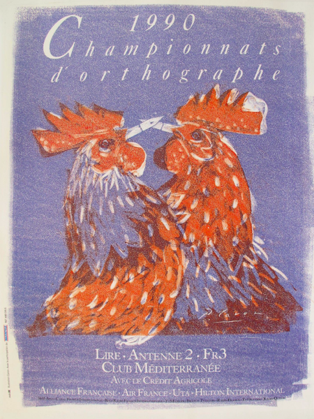 1990s Original French Rooster Poster, Spelling Competition