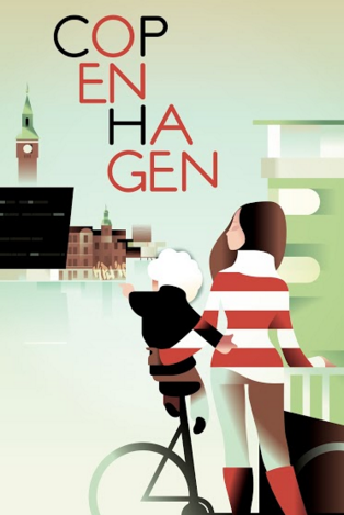 2015 Contemporary Danish Travel Poster - Copenhagen