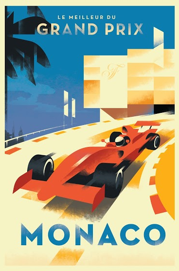 2014c. Contemporary Danish Poster, Mads Berg - Monaco Grand Prix