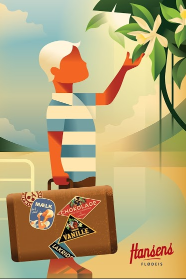 2015 Danish Modern Poster, Hansen's Boy with Suitcase
