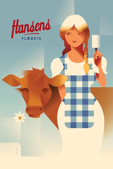 2015 Contemporary Danish Poster, Hansen's Girl With Cow