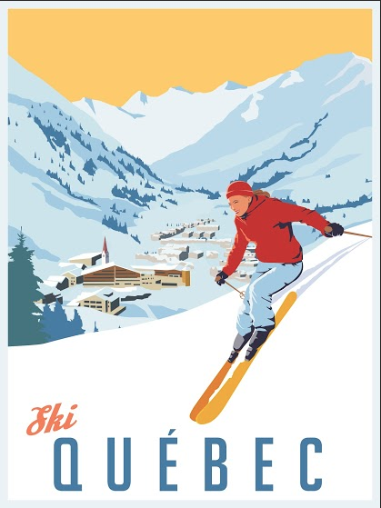 2012 Modern Retro Travel Poster, Ski Quebec