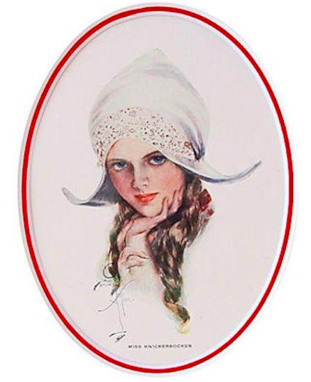 "1920's Original American 'Fisher Girl' Print, ""Miss Knickerbocker"" - Harrison Fisher"