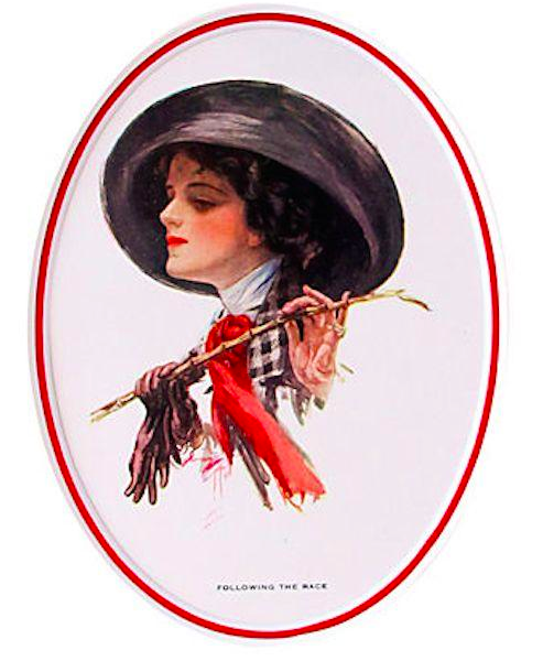 "1920's Original American 'Fisher Girl' Print, ""Following the Race"" - Harrison Fisher"