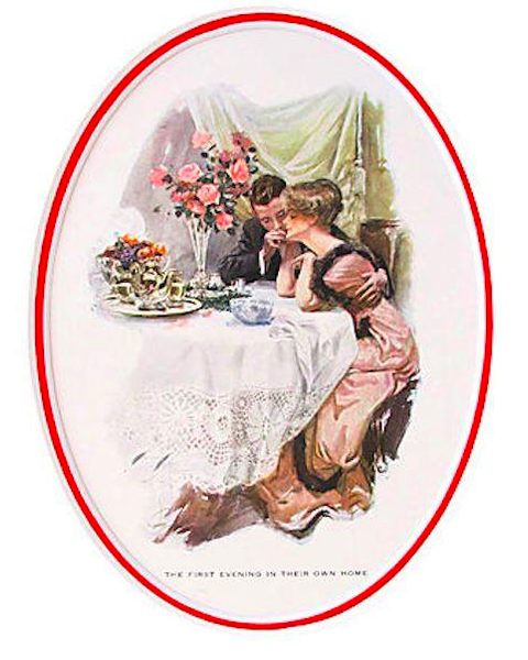 "1920's Original American 'Fisher Girl' Print, ""First Evening in their Own Home"" - Harrison Fisher"