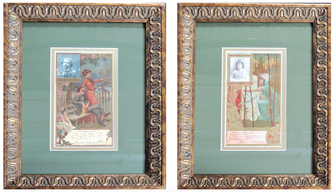 1905 Original Framed French Art Nouveau Biscuit Advertisements (set of 2)