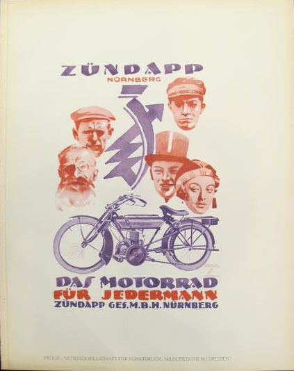 1926 Original German Art Deco Poster, Zündapp Nürnberg