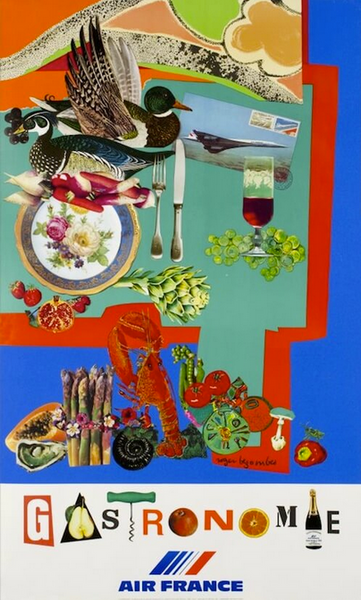 1980 Original Air France Travel Poster, Gastronomie