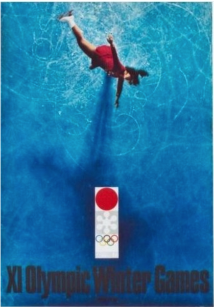 1972 Original Sapporo Winter Olympic Games Poster, Figure Skating