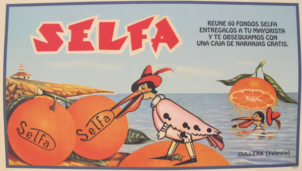 1930-40s Original Vintage Spanish Orange Label, Selfa
