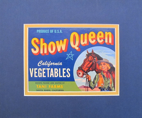 1930-40s Vintage American Vegetable Label - Show Queen