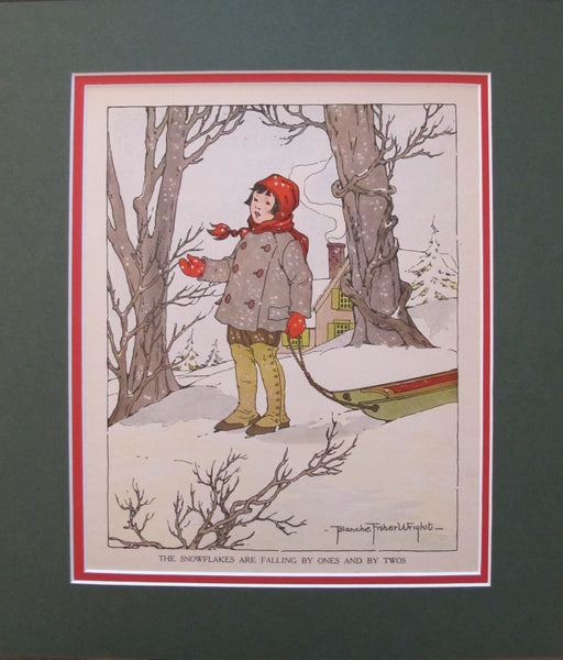 1918 British Children's Illustration, Snowflakes are Falling