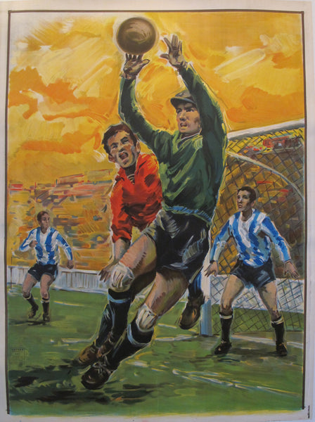 1963 Original Vintage Spanish Soccer/Football Poster, Goalkeeper
