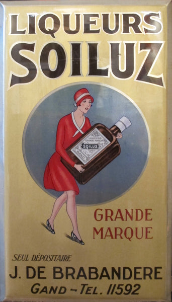 1927 Belgian Art Deco Tin, Liqueur Soiluz Advertisement