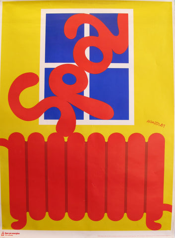 1978 Original Danish Energy Company Poster -  Spar pa Energen - Red Heater