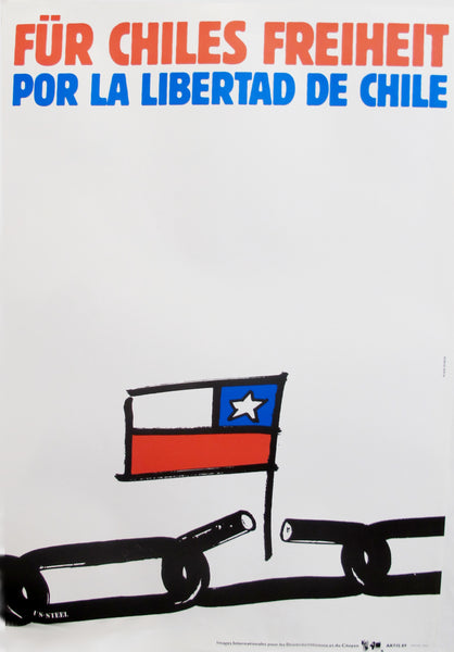 1989 Original Poster for Artis 89's Images Internationales pour les Droits de l'Homme et du Citoyen - Por la Libertad de Chile