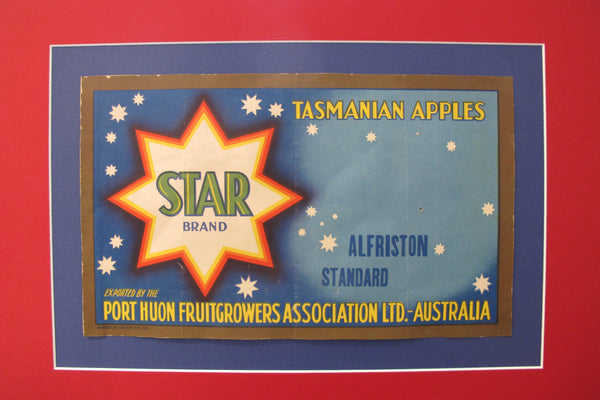 1920's Original Vintage Australian Art Deco Apples crate Label - Star Brand - Tasmanian Apples