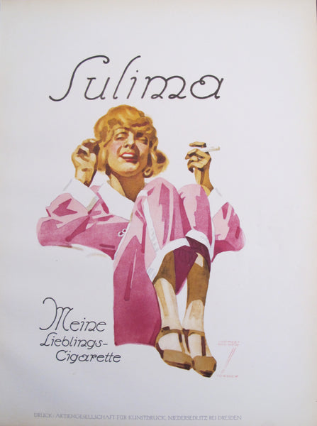 1926 Original German Art Deco Poster, Sulima Cigarettes (Smoking Woman in Pink/White)