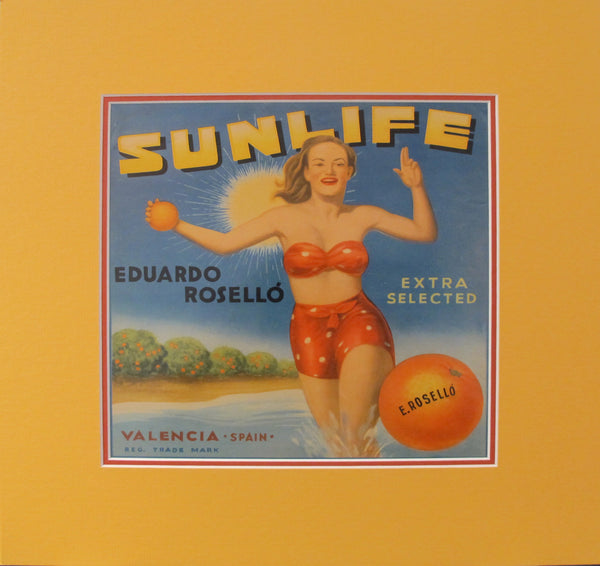 1920's Original Vintage Spanish Fruit Crate Label - Sunlife - Eduardo Rosello - Extra selected - Valencia Spain