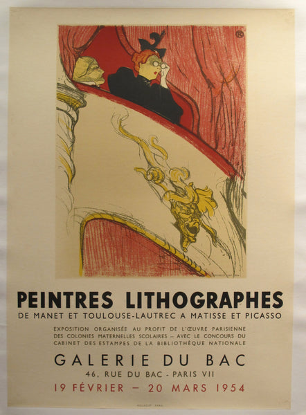 "1954 Original French Exhibition Poster, ""Les Peintres Lithographes"" at Galerie du Bac - Toulouse Lautrec (after)"