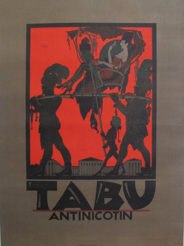 1919 Austrian Art Deco Poster - Tabu Antinicotin (Woman in Sedan Chair)