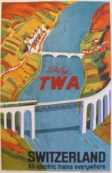 1940s Original Swiss Art Deco Poster, Fly TWA: Switzerland - Baumberger