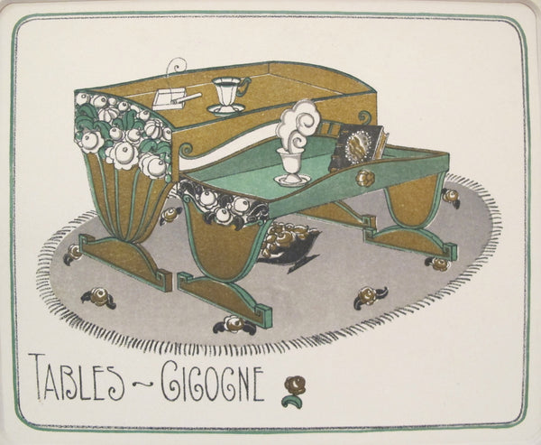 1920 Gazette Du Bon Ton Art Deco Poster, Tables Gigogne