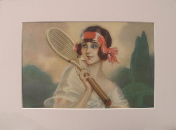 1920's Original Vintage French Art Deco Poster - Tennis Beauty