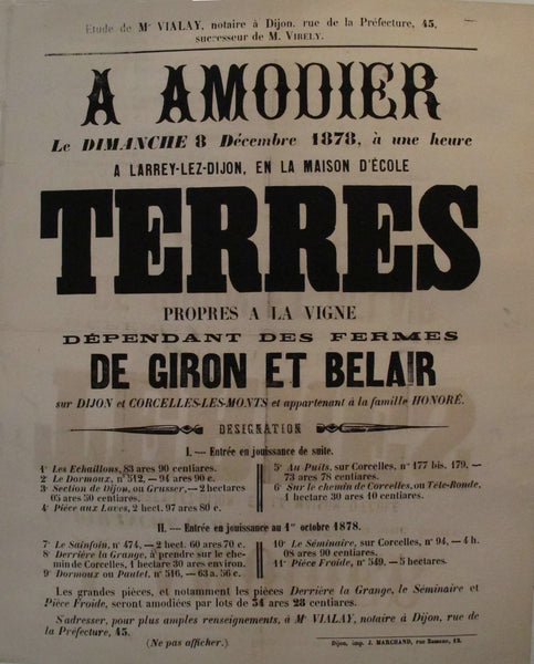 1887 Original French Land Deed, Terres a Amodier