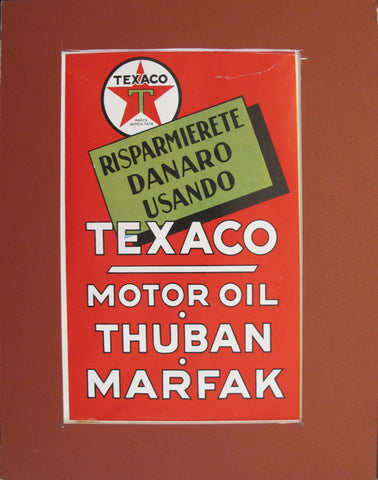 1940's Matted Italian Texaco Motor Oil Advertisement (red)