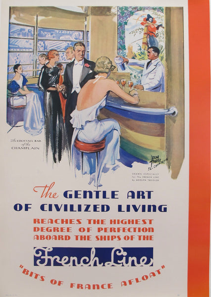 Original 1930s Vintage French Ocean Liner Poster, The Gentle Art of Civilized Living (The French Line)