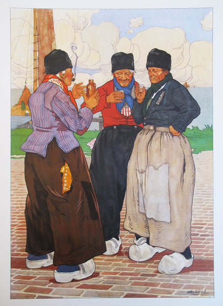 1890's Original Dutch Art Nouveau Poster - Three Fishermen