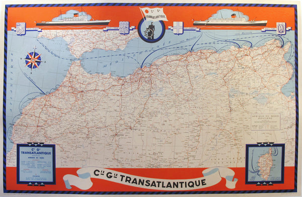1950 Map of North Africa, Cie Gle Compagnie Generale Transatlantique
