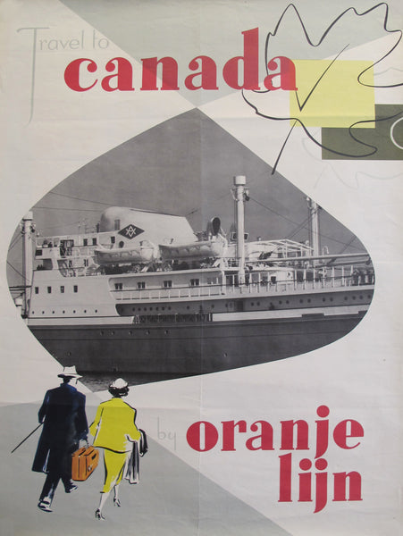 1960s Original Dutch Travel Poster - Travel to Canada on the Orange Lijn (Line)