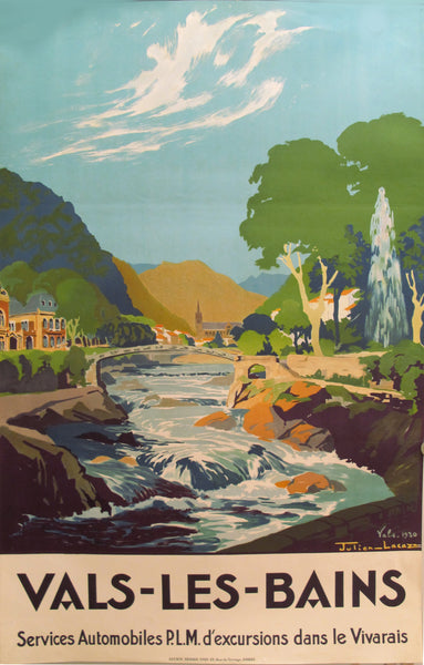 1930s Original French Art Deco Travel Poster, Vals Les Bains (PLM)