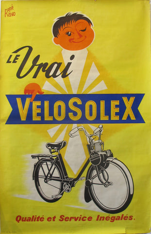 1950s Original French Advertisement Poster - Velo Solex by Ravo