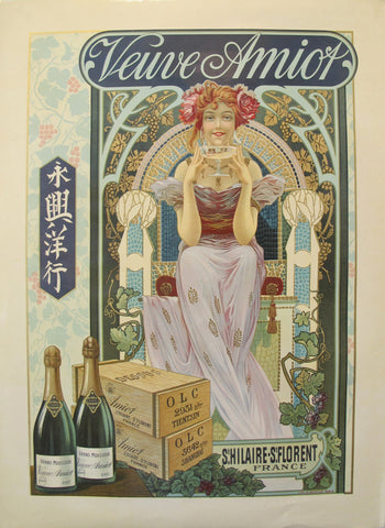 1890s Original French Art Nouveau Champagne Poster, Veuve Amiot