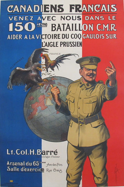 1915 Original Vintage French Canadian WWI Poster - 150e Bataillon -  Canadiens Francais