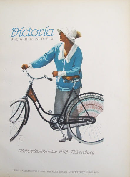 1926 Original German Art Deco Poster, Victoria Fahrräder (Woman with Bicycle)