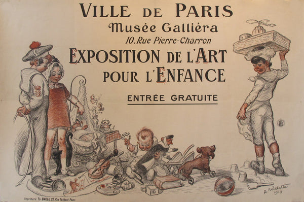 1913 Original French Art Deco Poster, Expo De L'art Pour L'Enfance - Willette