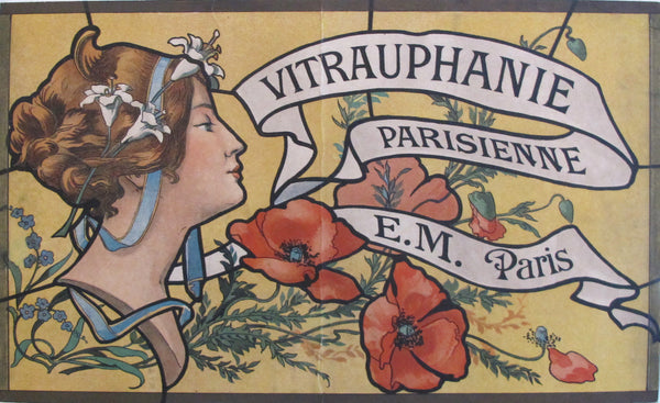 1900s French Art Nouveau Window Sticker, Vitrauphanie Parisienne