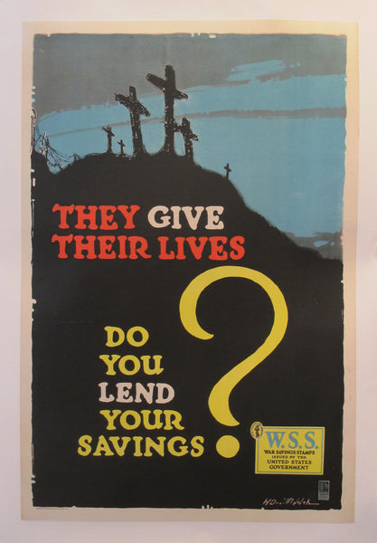 "1918 Original American World War One Poster - ""They Give Their Lives"" - Welsh"